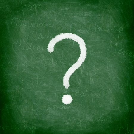 interrogation: Question mark on green blackboard  chalkboard. Nice chalk and texture. Stock Photo