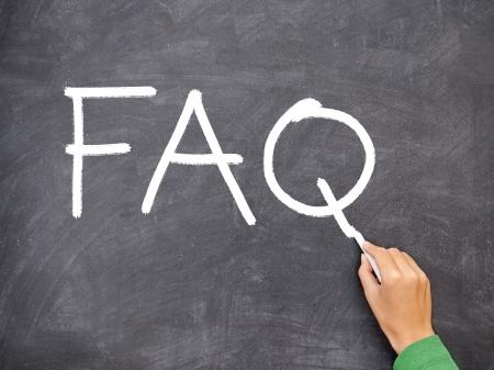 FAQ, question blackboard  chalkboard. Hand writing FAQ with white chalk on black chalkboard. Nice texture on blackboard. photo