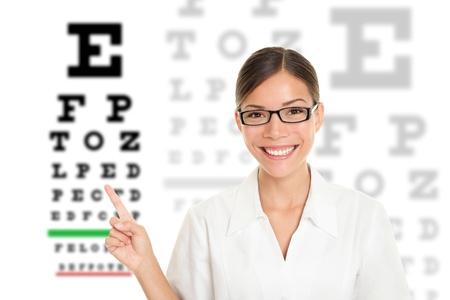 specialists: Optician or optometrist pointing at Snellen eye exam chart. Woman eye doctor wearing glasses on white background. Female Caucasian  Asian model.