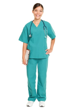 full uniform: Nurse or young doctor standing smiling isolated on white background in full body. Woman medical professional in green scrubs smiling happy. Mixed race ethnic Chinese Asian and Caucasian female model.