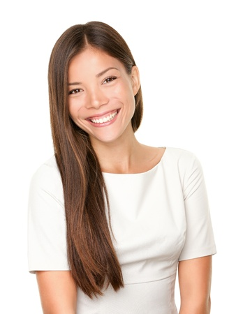 Woman smiling happy portrait. Beautiful mixed race chinese Asian  white Caucasian female model with candid smile isolated on white background.