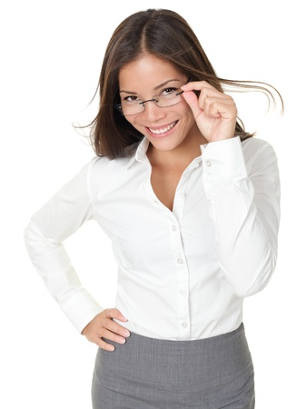 Portrait of young woman wearing glasses. Isolated on white background. photo
