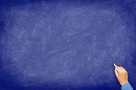 Chalkboard. blue blackboard with hand writing with chalk. Board texture background with used feel. Stock Photo - 10997616