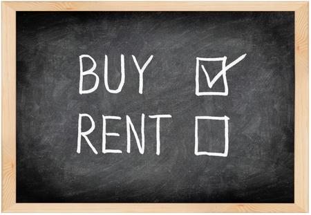 Buy not rent blackboard concept. Choosing buying over renting. Stock Photo - 10997615