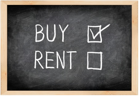 rent: Buy not rent blackboard concept. Choosing buying over renting. Stock Photo