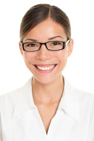 Pharmacist woman portrait. Closeup of young asian wearing glasses and lab coat isolated on white background photo