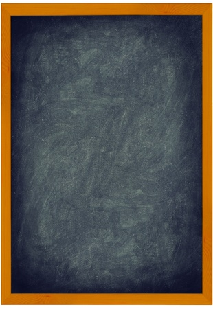 Blackboard  Chalkboard vintage texture background with frame of wood. Vertical closeup showing entire frame isolated on white background. Add text and use as sign. photo