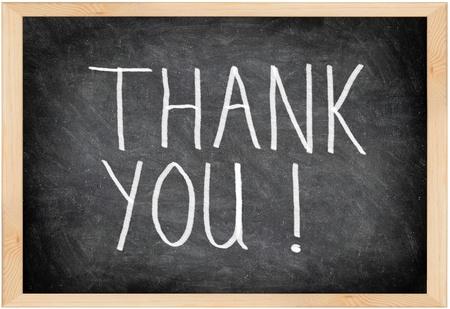 te negro: Gracias signo pizarra. Gracias escrito con tiza en el pizarrón negro con marco. Foto de archivo