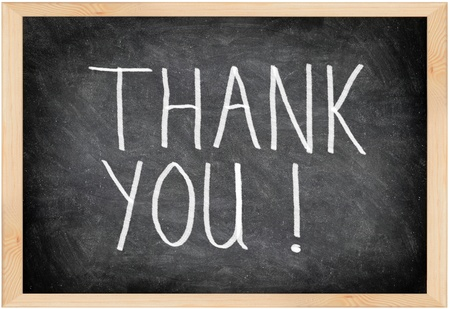 thank you note: Thank you blackboard sign. Thank you written with chalk on black chalkboard with frame.
