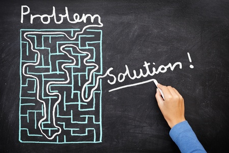 solve problems: Problem and solution - person solving maze. Blackboard  chalkboard business concept.
