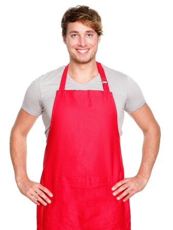 delantal: Pequeñas empresas dueño de la tienda. Delantal hombre sonriendo orgulloso y feliz aisladas sobre fondo blanco. Joven empresario o vendedor. Jóvenes caucásicos modelo masculino.