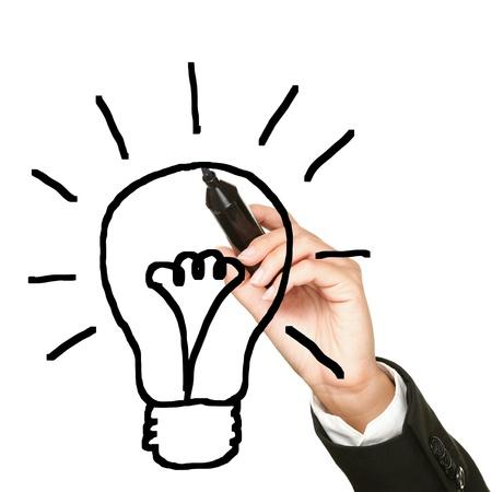 focos de luz: Idea de la bombilla de dibujo concepto de negocio. La innovación empresarial y la imagen de la idea conceptual de la mano y pluma de dibujo bombilla aisladas sobre fondo blanco. Foto de archivo