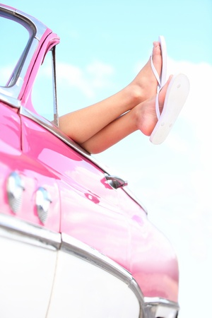sandals: Car vacation holiday road trip.  Stock Photo