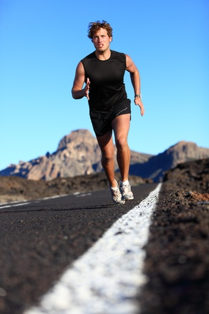 sprinting: Man running in beautiful nature.