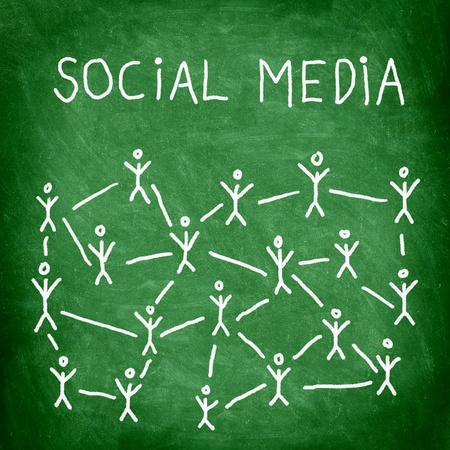 social net: Social media business network connection and networking concept image of green square blackboard  chalkboard. Stock Photo