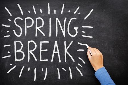 university text: Spring break blackboard. Spring break written on chalkboard.