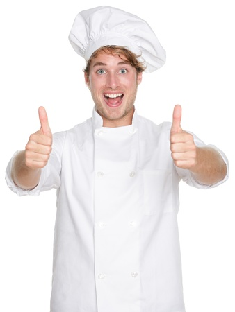 chefs whites: Chef. Chef, cook or baker showing thumbs up hand sign smiling happy and excited looking at camera.