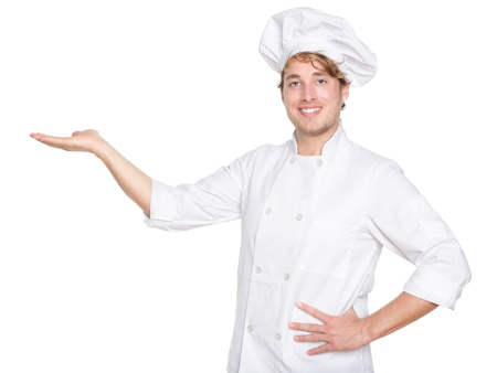 Chef, Cook or baker showing isolated.  photo