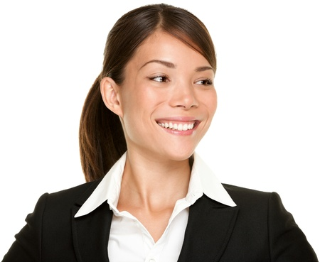 black suit: Asian businesswoman looking to the side smiling in black suit.