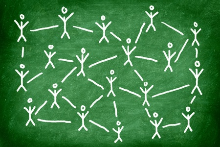 learning concept: Social media network. Networking concept photo of blackboard chalk drawing of people connected.