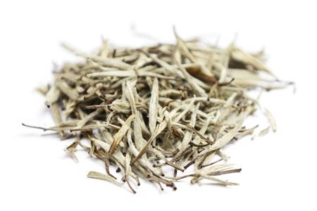 sinensis: White tea. Closeup of chinese silver needle hair down white tea of premium luxury quality. Bai Hao Yinzhen tea on white background