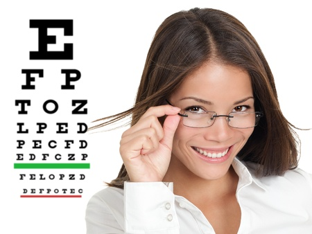 Optician or optometrist wearing glasses standing by Snellen eye exam chart  Female Caucasian   Asian Chinese model isolated on white background