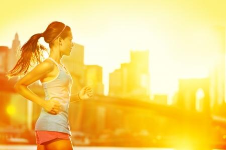 Runner jogging in sunny bright light