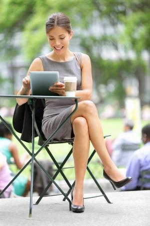 bryant park: Businesswoman on break in par