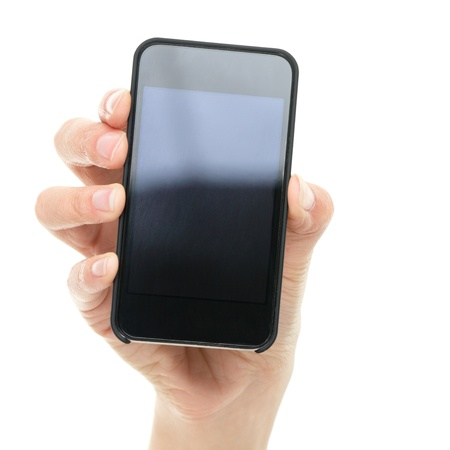 Smart phone  Hand showing smartphone mobile phone closeup  Screen blank and empty for copyspace  Isolated on white background  Stock Photo - 15892669