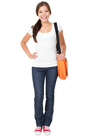 beautiful teen girl: College university student woman   Stock Photo