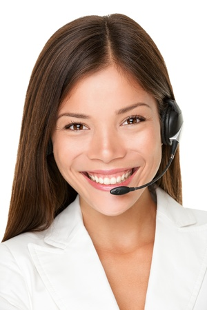 telephonist: Close up shot of smiling call center operator Stock Photo