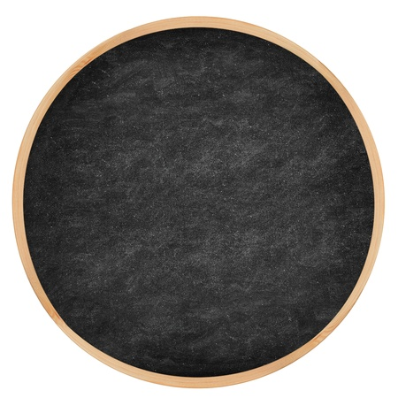 Round chalkboard  blackboard circle texture with wood frame. From photo. photo