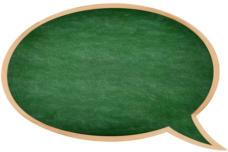 Speech bubble chalkboard / blackboard with frame isolated on white background. Great texture. From photo. Stock Photo - 16741693