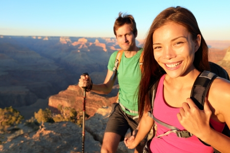 Couple hikers in Grand Canyon  photo