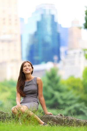 Young Asian Business woman in New York Central Park. Businesswoman in New York City Stock Photo - 17417985
