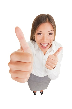 euphoric: Happy excited woman giving thumbs up