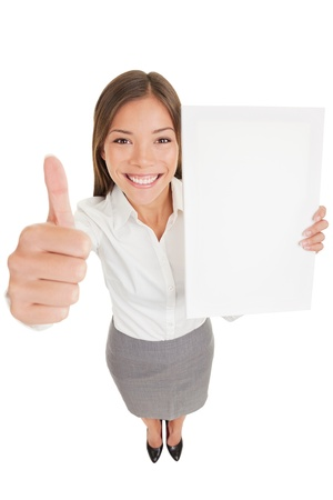 endorsement: Businesswoman showing sign poster Stock Photo