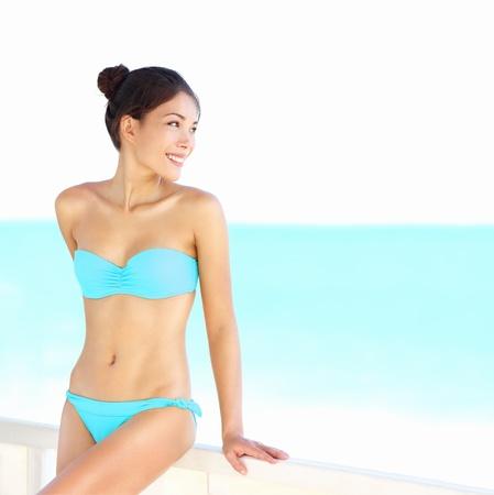cuba girl: Beach bikini woman beauty on summer holidays vacation Stock Photo