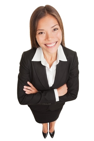 business: Business woman. Asian businesswoman portrait of smiling young professional in suit. High angle view of proud confident mixed race Asian Chinese  Caucasian isolated in full length on white background