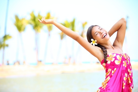 hula: Happy people on beach travel - woman in sarong cheerful in happiness during summer vacation holidays on Hawaii  Multiracial Caucasian   Asian female girl  Stock Photo