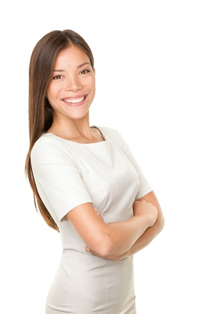 proud: Asian woman portrait smiling happy with arms crossed proud  Young casual female professional businesswoman isolated on white background  Multicultural Asian   Caucasian model
