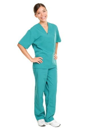 bushes: Medical nurse  in green scrubs