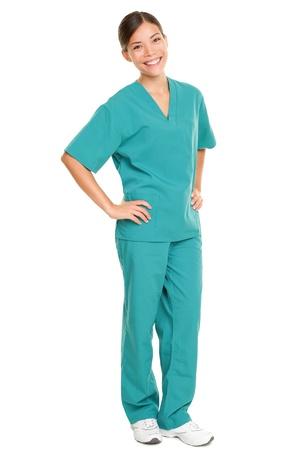 Medical nurse in green scrubs