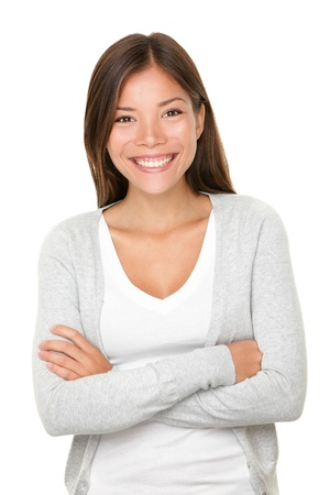 beaming: Beautiful smiling woman. Upper body portrait of a beautiful vivacious young woman of mixed Asian Caucasian descent with a beaming smile isolated on white