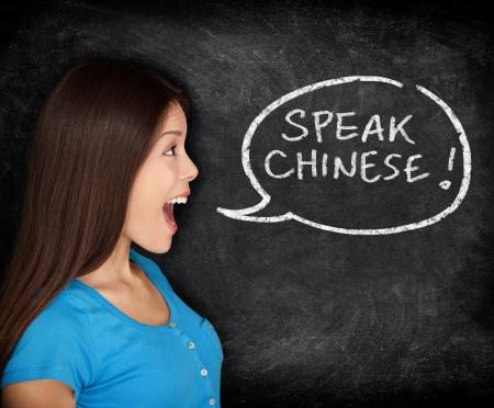Woman speech bubble on blackboard saying SPEAK CHINESE