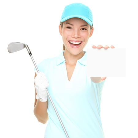 Golf player woman sign. Female golf player showing empty blank white paper sign card or gift card. Mixed race Asian Caucasian woman isolated on white background photo