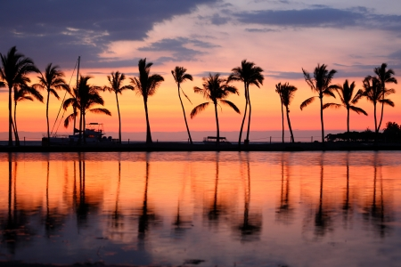 hawaii sunset: Paradise beach sunset or sunrise with tropical palm trees. Summer travel holidays vacation getaway colorful concept photo from sea ocean water at Big Island, Hawaii, USA.
