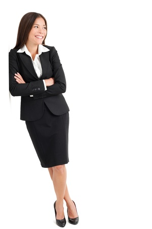 Full length of beautiful young businesswoman looking sideways isolated over white background