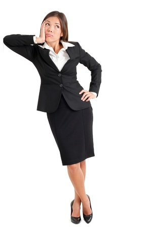 Full length of confused young businesswoman with hand on face looking away isolated over white background photo