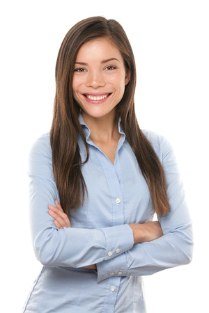 Asian businesswoman. Casual portrait of beautiful confident multi-ethnic Asian Chinese  Caucasian female businessperson smiling isolated on white background in studio. Young professional in her 20s.